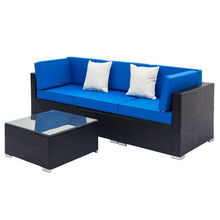 Load image into Gallery viewer, 4 Pieces Weaving Rattan Sofa Set w/2pcs Corner Sofas & 1pcs Single Sofa - QSR-Unlimited