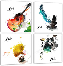 Load image into Gallery viewer, 4 Pieces Canvas Wall Art Guitar Piano Phonograph and Drum Set - QSR-Unlimited