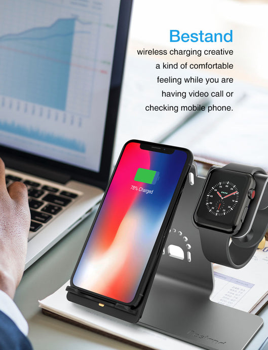 2 in 1 Wireless Charger, Qi Wireless Charging Stand, Grey - QSR-Unlimited