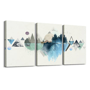 Canvas Prints Wall Art Abstract Mountain Landscape 3 Panels Painting - QSR-Unlimited