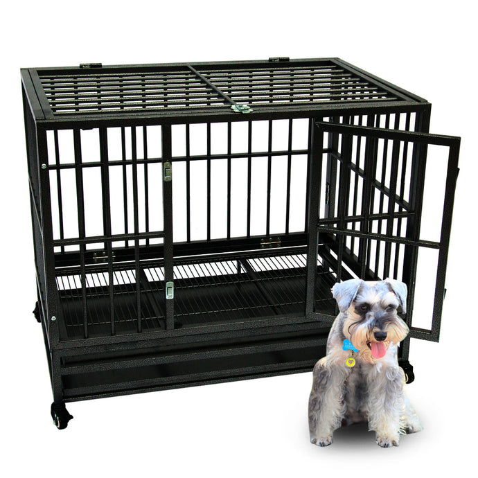 Heavy Duty Dog Crate Large Kennel Cage Metal Playpen Wheels & Tray 36
