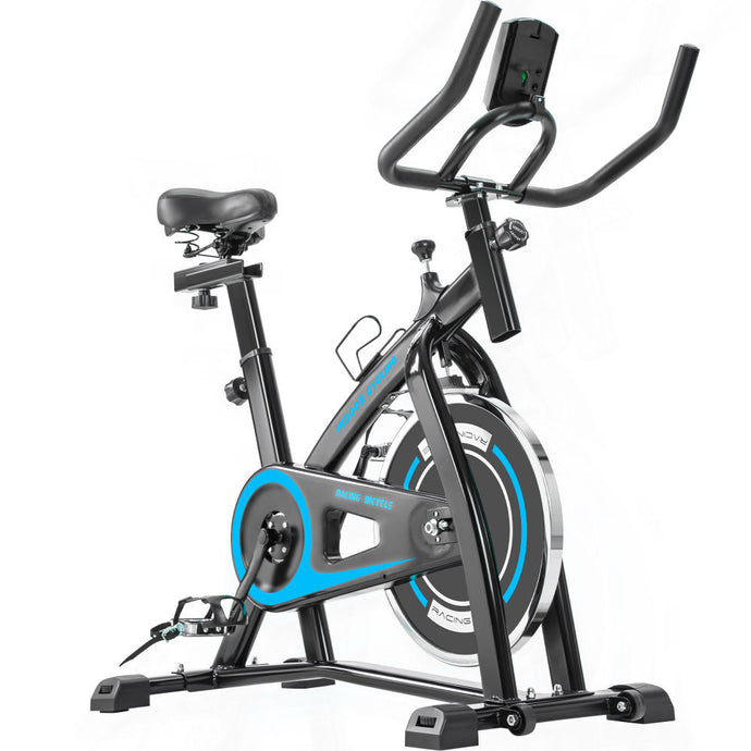 Indoor Cycling Bike Trainer with Comfortable Seat Cushion, Belt Drive System and LCD Monitor - QSR-Unlimited