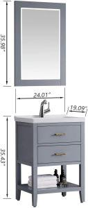 "F&R 24 Inch Bathroom Vanity and Sink Combo with Mirror & Storage, Gray/Blue/White Bathroom Vanity 24"" - QSR-Unlimited"