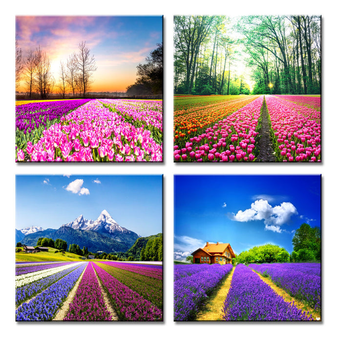 Canvas Prints Tulip Lavender Field Wall Art Colorful Flowers Artworks on Canvas - QSR-Unlimited