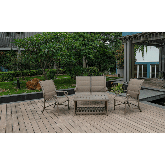 Aluminum Patio Chat Set w/ Faux Wood Top Table & Quick Dry Cushioning - QSR-Unlimited