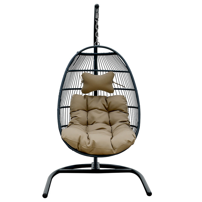 PE rattan steel pile egg  swing chair hammock basket single - QSR-Unlimited