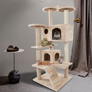 "52"" Solid Cute Sisal Rope Plush Cat Climb Tree Cat Tower - QSR-Unlimited"