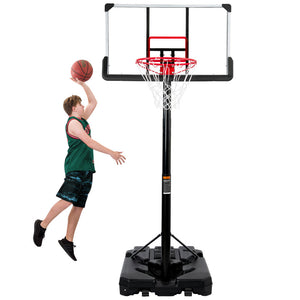 Portable Basketball Hoop & Goal, Outdoor Basketball System with 6.6-10ft Height Adjustment - QSR-Unlimited