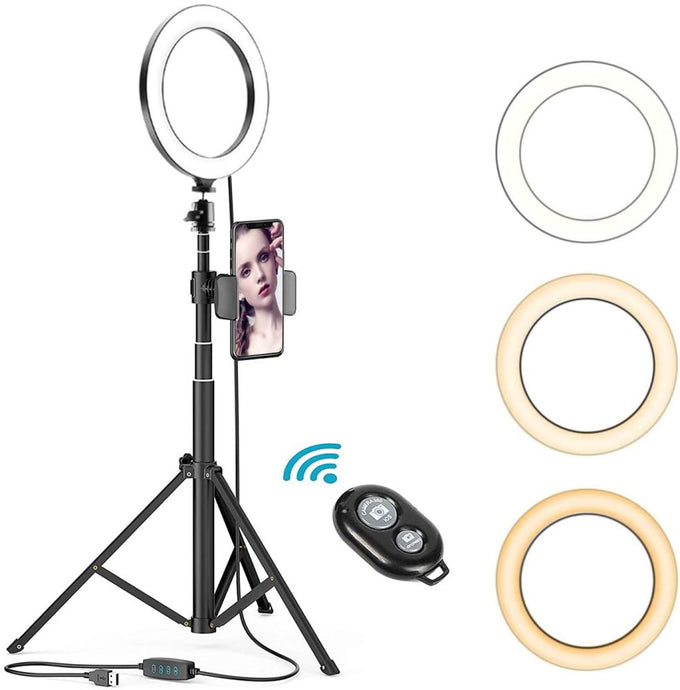 8 Inches Selfie Ring Light with Stick Tripod Stand and Phone Holder for Live Stream - QSR-Unlimited