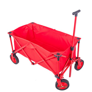 "Folding Collapsible Utility Wagon Organizer w/Telescoping Handle Big 7"" Wheels Red - QSR-Unlimited"