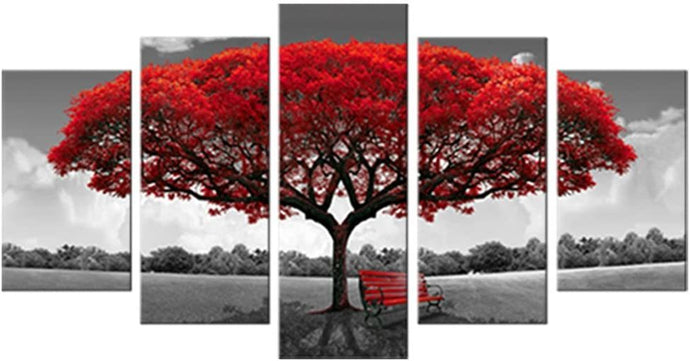 Canvas Wall Art Red Tree Picture Prints on Canvas Landscape Painting Modern Giclee Artwork Stretched and Framed - QSR-Unlimited