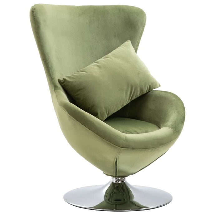 Swivel Egg Chair with Cushion Light Green Velvet - QSR-Unlimited