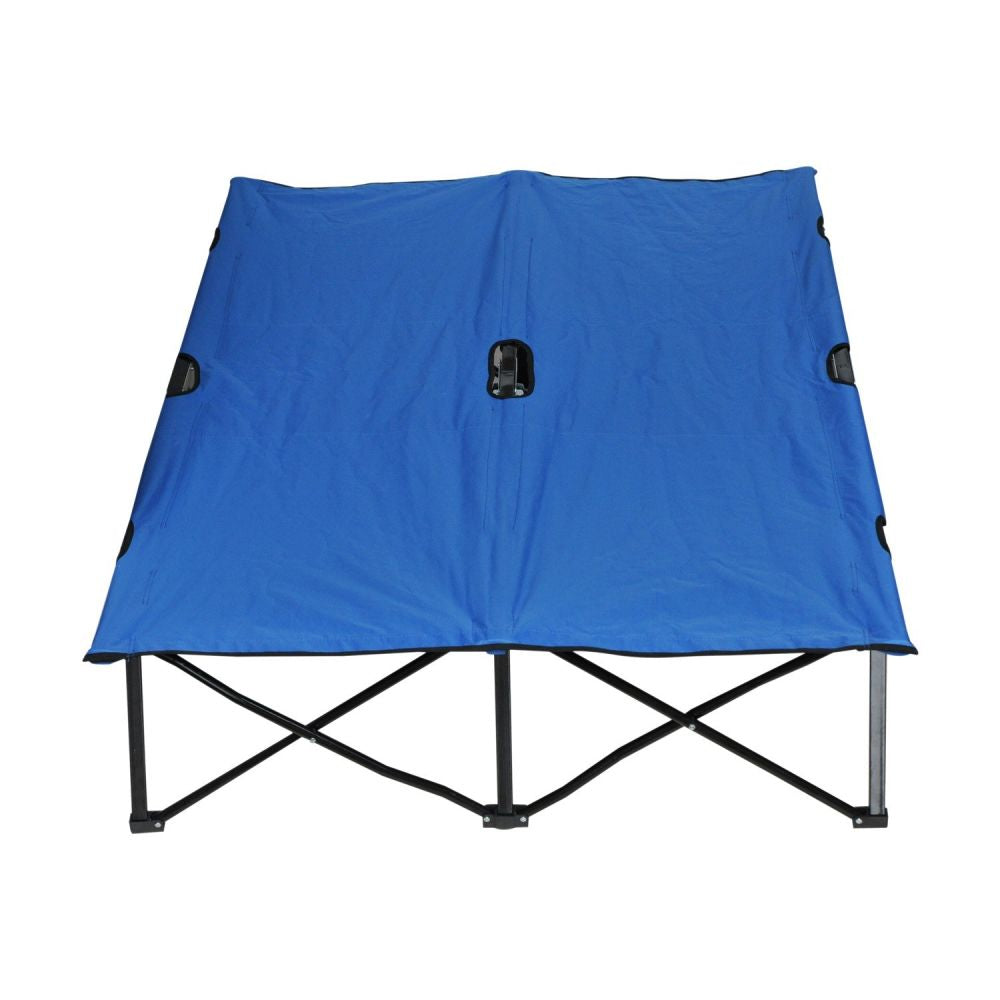 76 inch double double folding outdoor camping beach bed - Blue - QSR-Unlimited
