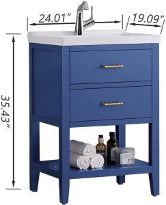 "24 Inch Bathroom Vanity & Sink Combo w/Storage, Gray/Blue/White Vanity 24"" Modern (Mirror Not Included) - QSR-Unlimited"