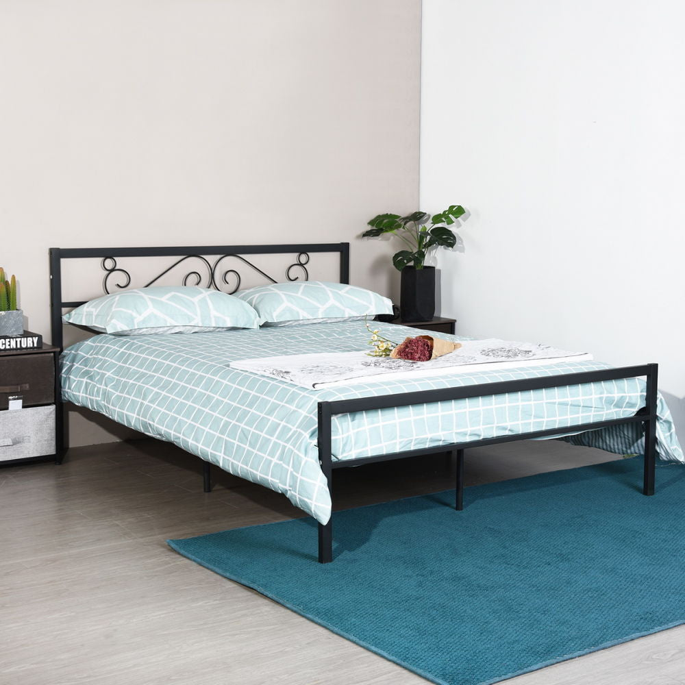Vintage Style Platform Metal Bed Frame Foundation Headboard Footboard - QSR-Unlimited