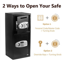 Load image into Gallery viewer, Double Door Iron Office Security Lock Digital Cash Gun Safe Depository Box - QSR-Unlimited