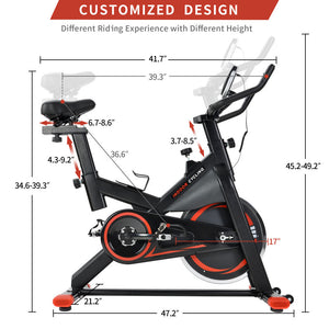 Chromed Flywheel, Silent Belt Drive Indoor Cycle Bike w/Leather Resistance Pad - QSR-Unlimited