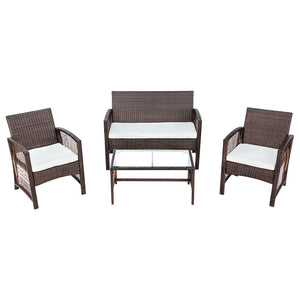 4 Pieces Outdoor Furniture Rattan Chair & Table Patio Set - QSR-Unlimited