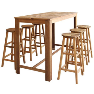 Wooden dining table set 7 pieces of solid wood acacia chair seat-kitchen table - QSR-Unlimited