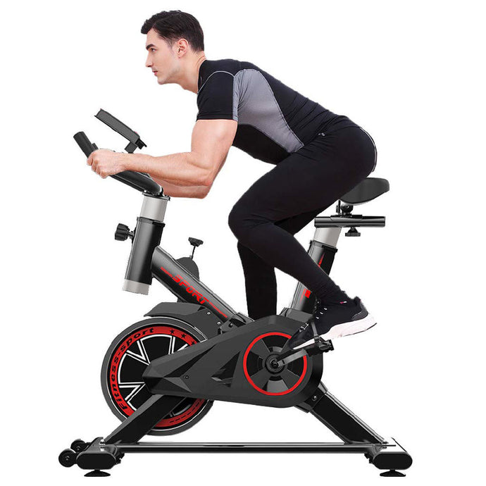 Indoor Exercise Bike, Indoor Cycling Stationary Bike Belt Drive with LCD Monitor - QSR-Unlimited
