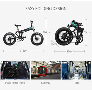 "Fiido M1 20"" Fat Tires Folding Electric Mountain Bike 250W Motor 7 Speed Derailleur 3 Mode - QSR-Unlimited"