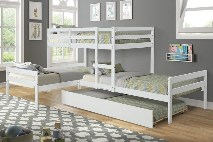 L-Shaped Bunk Bed with Trundle - QSR-Unlimited