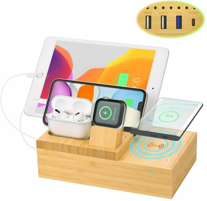 Bamboo Charging Dock Station Charger Holder Stand For iphone iWatch iPad AirPods - QSR-Unlimited
