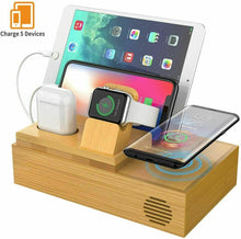 Load image into Gallery viewer, Bamboo Charging Dock Station Charger Holder Stand For iphone iWatch iPad AirPods - QSR-Unlimited