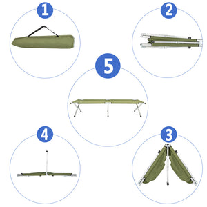 Folding Camping Cot with Carrying Bags Outdoor Travel Hiking Sleeping Chair Bed - QSR-Unlimited