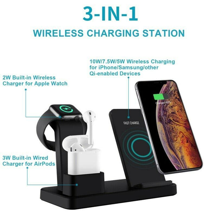 3-in-1 Fast Wireless Chargers Charging Pad for Mobile Phone/iWatch/Headphone - QSR-Unlimited