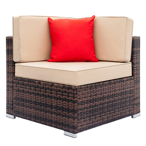 Outdoor Patio Corner Sectional Sofa Chair with Cushions - QSR-Unlimited