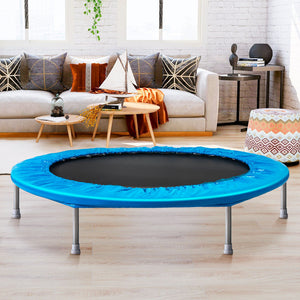 "45"" Foldable Mini Trampoline, Fitness Trampoline with Safety Pad, Stable & Quiet Exercise Rebounder - QSR-Unlimited"