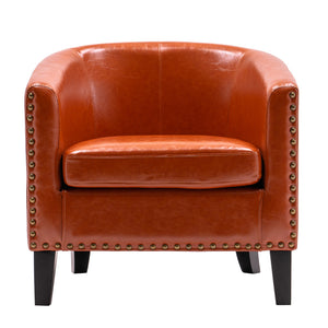 Circle Chair Modern Minimalist Single Sofa with Copper Nails PU Brown Orange - QSR-Unlimited