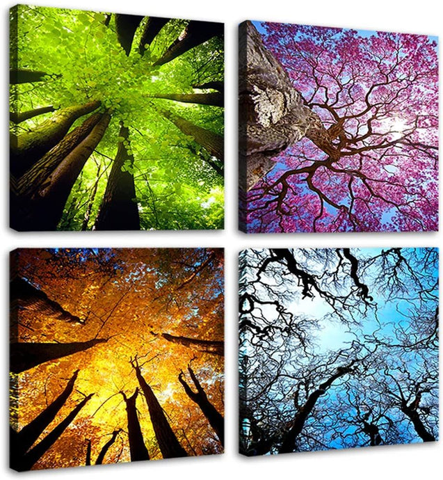 4 Panels Canvas Wall Art Spring Summer Autumn Winter Four Seasons Landscape - QSR-Unlimited