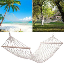 Load image into Gallery viewer, Outdoor Wood Pole Cotton Rope Hammock Garden Patio Yard Hanging Sleep Bed - QSR-Unlimited
