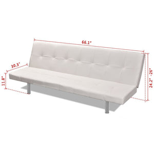 Sofa Bed with Two Pillows Artificial Leather Adjustable Cream White - QSR-Unlimited