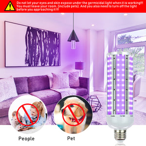 60W UV Germicidal Sterilizer Lamp LED UVC E27 Home Portable Light Bulb - QSR-Unlimited