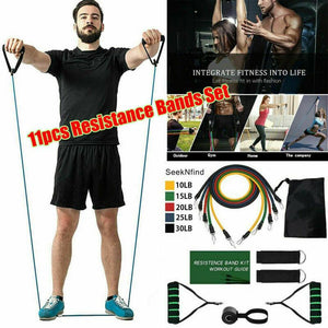 11PC Premium Resistance Bands Set, Workout Bands - with Door Anchor, Handles and Ankle Straps - QSR-Unlimited