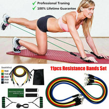 Load image into Gallery viewer, 11PC Premium Resistance Bands Set, Workout Bands - with Door Anchor, Handles and Ankle Straps - QSR-Unlimited