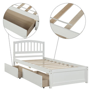 Twin Platform Bed with 2 Drawers