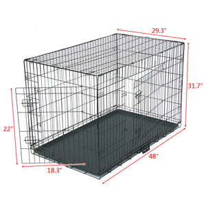 "48"" Pet Kennel Cat Dog Folding Crate Animal Playpen Wire Cage - QSR-Unlimited"