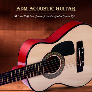 "30"" Junior Acoustic Guitar Starer Kit with Carrying Bag, Picks, E-Tuner, Strap, Natural - QSR-Unlimited"
