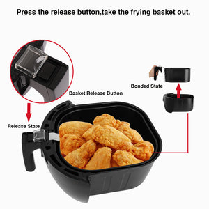 5.6QT Capacity Air Fryer XL W/ LCD Screen and Non-Stick Coating 1800W - QSR-Unlimited