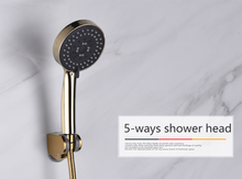 "Load image into Gallery viewer, CIENCIA 5 Function Handheld Shower Head Gold Plated with 60"" Shower Hose & Holder - QSR-Unlimited"
