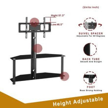 Load image into Gallery viewer, Height And Angle Adjustable Multi-Function Tempered Glass Metal Frame Floor TV Stand - QSR-Unlimited