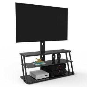 Black Multi-Function Angle And Height Adjustable Tempered Glass TV Stand - QSR-Unlimited