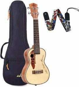 23 Inch Concert Ukulele Stain Finish Muti-pole Aqulia String with Quality Bag - QSR-Unlimited