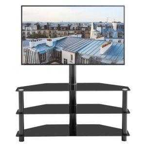 Black Multi-function TV Stand Height Adjustable Bracket Swivel 3-Tier - QSR-Unlimited