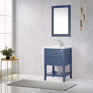 F&R 24 Inch Bathroom Vanity and Sink Combo with Mirror & Storage, Gray/Blue/White Bathroom Vanity 24