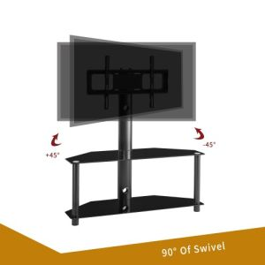 Height And Angle Adjustable Multi-Function Tempered Glass Metal Frame Floor TV Stand - QSR-Unlimited